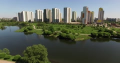 Residential District On the Shore of the Lake  - stock footage
