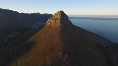 Aerial of Lion's Head at Golden Sunrise Stock Footage