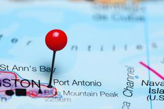Port Antonio pinned on a map of Jamaica - stock photo