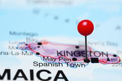 Spanish Town pinned on a map of Jamaica Stock Photos
