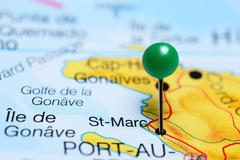 St-Marc pinned on a map of Haiti - stock photo