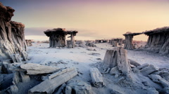 Tufa Formations on the shore of Mono Lake, California Stock Footage