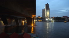 4K: Day to night, Boats traffic on Chao Phraya river Stock Footage