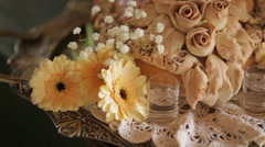 Bread with gerbera daisies in tray at wedding party Stock Footage
