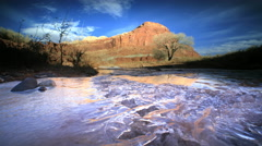 Ice Formations on river in Capitol Reef NP, Utah Stock Footage