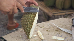 Cutting durian with knives Stock Footage