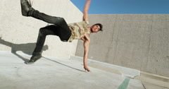 Slow Motion Young Man Breakdancing In City Stock Footage