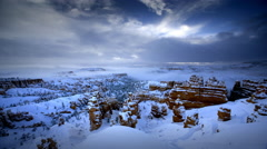 Bryce Canyon National Park after winter storm Stock Footage