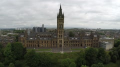 Aerial drone view of the University Glasgow in Scotland Stock Footage