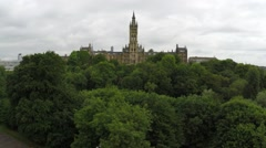 Aerial drone view of the University Glasgow in Scotland Arkistovideo