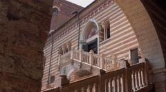 Verona sightseeing - Palazzo del Mercato Vecchio in Verona Italy Stock Footage