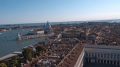 Amazing aerial view from Campanile tower at St Marks Place in Venice Stock Footage