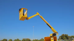 Road maintenance worker in truck with mobile crane Stock Footage
