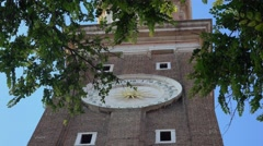 Verona sightseeing - Tower with beautiful clock in the city center of Verona Stock Footage