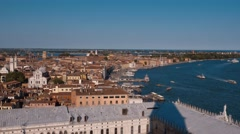 The City of Venice Italy - aerial view from Campanile Tower Stock Footage
