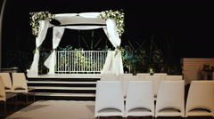 Jewish traditions wedding ceremony. Wedding canopy (chuppah or huppah) Stock Footage