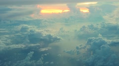Aerial view of  white clouds on blue sky on sunrise with reflection in ocean Stock Footage