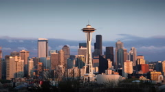 Seattle skyline with Space Needle, Seattle WA Stock Footage
