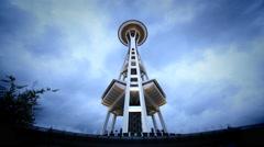 Space Needle, Low Angle, Seattle, WA Stock Footage