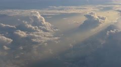 Aerial view of beautiful white heap clouds on blue sky on the sunrise. Stock Footage
