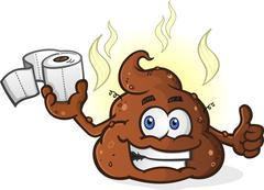 Poop Cartoon Character Holding Toilet Paper and Giving a Thumbs Up Stock Illustration