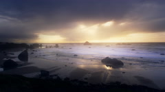 Oregon Coast at Sunset, Bandon, Oregon Stock Footage