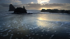 Beach at Sunset, Oregon Coast, Bandon Stock Footage