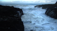 Waves and sea foam at sunset, Cape Perpetua State Park, Oregon Stock Footage