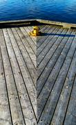 Vertical wooden deck composition - stock photo