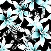 Tropical white frangipani hibiscus with black palms seamless pattern Stock Illustration