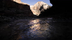 Virgin River and Rock Formations, Zion NP, Utah Stock Footage