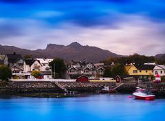 Horizontal vibrant vivid Norway small town background backdrop Stock Photos