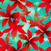 Tropical red frangipani hibiscus with palms seamless pattern Stock Illustration