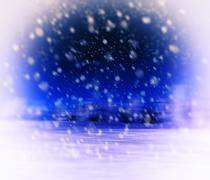 Horizontal vivid vibrant white blue purple winter snowfall postc Stock Illustration