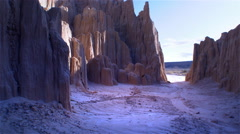 POV through Rock Formations at Cathedral Valley, Utah Stock Footage