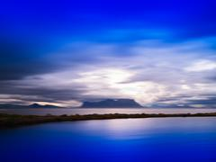 Horizontal vivid Norway motion blur landscape abstraction backgr Stock Photos