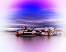 Horizontal vivid vibrant Norway ship quay landscape abstraction Stock Photos