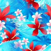 Tropical red hibiscus flowers with surfing wave seamless pattern Piirros