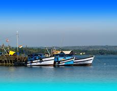 Horizontal vivid Indian ships and boats transportation backgroun - stock photo