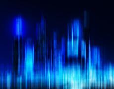 Horizontal vibrant digital blue night skyscrapers blur motion ab Stock Illustration