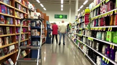 One side of people shopping inside Save on Foods. Stock Footage