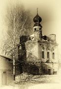 Vertical sepia vintage Russian orthodox abandoned church backgro Stock Photos