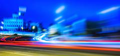 Night Moscow long exposure abstraction Stock Photos