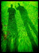 Vertical  two men shadow film scan abstraction Stock Illustration
