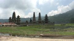 Komala Tirta temple in Tamblingan lake, Bali Stock Footage