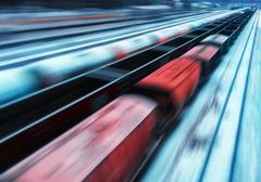 Passing train abstraction - stock photo