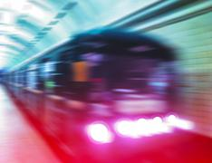 Diagonal metro train in motion abstraction background - stock photo