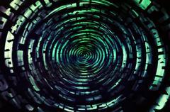 Green data information teleport swirl illustration background Stock Illustration