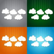 White clouds on a thread on background. Set. Stock Illustration
