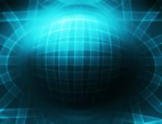 Horizontal cyan 3d sphere abstract illustration background Stock Illustration